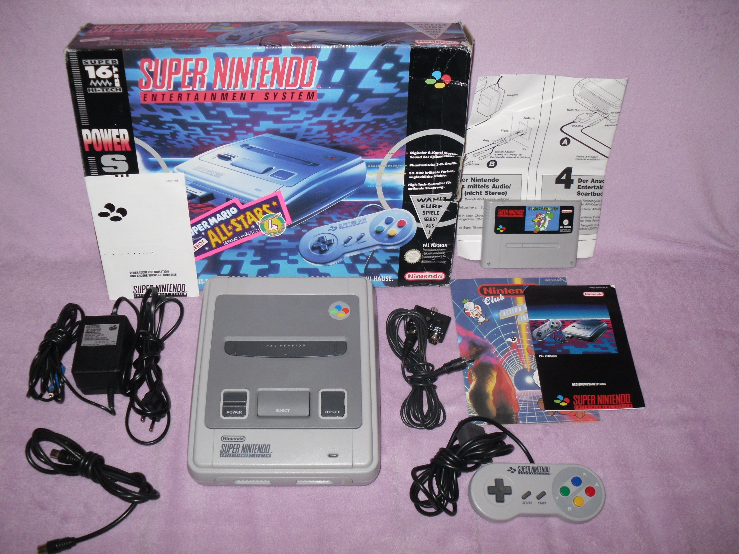 Super nintendo snes in ovp komplett mit spiel mario world for A decoration none